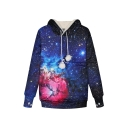 Hot Popular Starry Sky 3D Galaxy Printed Cat Claw Long Sleeve Casual Pompom Drawstring Hoodie