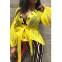 Womens Sexy Lantern Sleeve Tie Front High Low Metal Circle Embellished Plain Yellow Sheer Mesh Coat Jacket