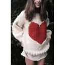 Loose White Heart Print Contrast Collar Long Sleeve Girls Chic Knit Pullover Sweater