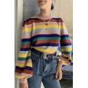 Regular Retro Rainbow Striped Balloon Sleeve Crew Neck Loose Relaxed Pullover Sweater