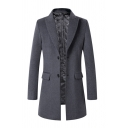 Mens Stylish Plain Peak Collar Long Sleeve Single Breasted Flap Pocket Longline Woolen Coat