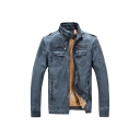 Mens Casual High Neck Long Sleeve Zip Up Teddy Lined PU Leather Trucker Jacket with Pocket