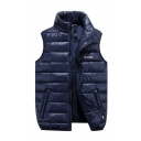 Mens Casual Solid Sleeveless Stand Collar Sleeveless Navy Warm Down Vest with Pocket