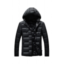 Mens Casual Plain Black Long Sleeve Zip Up Thick Outerwear Hooded Down Coat