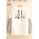 Womens Cute Cat MONDAY FRIDAY MEOW Printed Colorblock Long Sleeve Drawstring Thick Hoodie