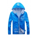 Fancy Logo Letter THINK AND ACT Printed Mesh Patch Zip Up Sun-Proof Hooded Sportswear Jacket Hoodie