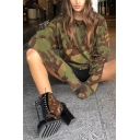 Womens Cool Camo Printed Long Sleeve Round Neck Baggy Pullover Sweatshirt