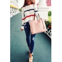 Womens Loose Colorblock Stripe Long Sleeve Drop Shoulder Dipped Hem White Pullover Sweater