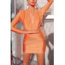 Womens Fall Stylish Orange Deep V-Neck Long Sleeve Ruched Detail Slim Fit Mini Bandage Dress