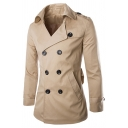 Plain Fashion Notched Lapel Epaulets Double-Breasted Split Back Trench Coat for Men