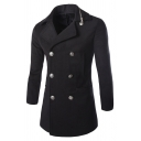 Mens Plain Casual Zipper Embellished Notched Collar Double Breasted Long Sleeve Pea Coat with Pocket