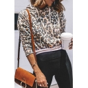 Womens Fashionable Leopard Pattern Long Sleeve Brown Cropped Fitted Drawstring Hoodie