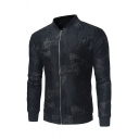 Mens Stylish Retro Jacquard Long Sleeve Stand Up Collar Zip Placket Casual Fitted Black Jacket