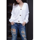 Womens Simple V-Neck Long Sleeve Button Down Loose Fit Purl Knit Cardigan Coat