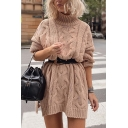 Womens Fashion Plain Cable Knit High Collar Long Sleeve Side Split Pullover Sweater Dress
