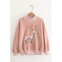 Girls Popular Cute Deer Embroidery Round Neck Long Sleeve Warm Pullover Sweater Sweatshirt