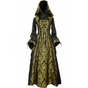 Womens Popular Medieval Costume Gold Floral Printed Bell Long Sleeve Lace Up Front Retro Maxi Hooded Party Dress