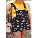 Women's Classic Daisy Sunflower Printed Adjustable Straps Casual Overalls Shorts