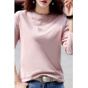 Ladies Casual Unicorn Embroidery Printed Long Sleeve Round Neck Slim Fit T-Shirt Top