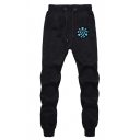 Popular Movie Logo Printed Drawstring Waist Loose Fit Black Leisure Outdoor Jogger Pants