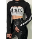 Reflective Letter KL ALIEN Printed Stripe Sleeve Black Drawstring Crop Hooded Hoodie