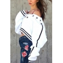 Street Style Lace-Up Front Long Sleeve Stripe Trim Loose Casual Crop Hoodie
