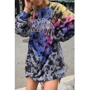 Hipster Hip Hop Womens Colorful Letter Spots Printed Long Sleeve Oversized Longline Pullover Sweatshirt