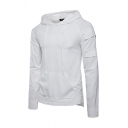 Stylish Plain Applique Design Long Sleeve Pouch Pocket Drawstring Thin Pullover Hoodie