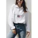 Drawstring Stand Collar Embroidered Flag Letter LOS ANGELES Printed Half Zip White Loose Sweatshirt