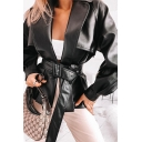 Black Notched Lapel Elastic Cuff Belted PU Leather Trench Coat