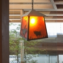 1 Light House Suspension Pendant Countryside Marble Ceiling Light with Animals Design in Rust for Bar