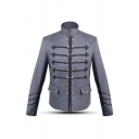 Men's Casual Double-Breasted Suit Jacket Plain Vintage Blazer with Flap Pocket