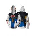 New Trendy Fashion 3D Printed Long Sleeve Zipper Drawstring Cosplay Hoodie