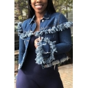 Women Fashionable Fringe Detail Long Sleeve Button Front Ripped Dark Blue Short Denim Jacket
