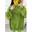 Korean Style Cute Rabbit Printed Back Balloon Sleeve Letter Cuff Oversized Drawstring Hoodie with Pocket