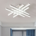 Crossed Lines LED Flushmount Nordic Style Metal 6 Lights Ceiling Fixture in White for Coffee Shop