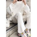 Stylish White Solid Loose High Collar Side Split Knit Long Pullover Sweater for Women