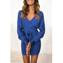 Womens Sexy V-Neck Long Sleeve V-Back Tied Waist Solid Classic Mini Fitted Dress