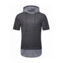 Mens Casual Color Block Panel Short Sleeve Dark Gray Drawstring Hoodie