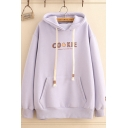 Cute Creative Letter COOKIE Printed Long Sleeve Kangaroo Pocket Loose Thick Drawstring Hoodie