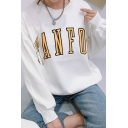 Simple TANFOR Letter Printed Round Neck Long Sleeve Oversized Pullover Sweatshirt