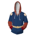 Popular Anime Character Cosplay Costume Color Block Star Stripes Print Long Sleeve Zip Up Blue and Red Drawstring Hoodie
