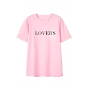 Simple Letter LOVERS Printed Short Sleeve Round Neck Loose Casual T-Shirt