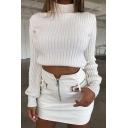 Ladies Winter Warm Solid High Collar Lantern Sleeve Slim Short Pullover Sweater Knitwear
