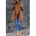 Womens Fashion Lapel Collar Long Sleeve Plain Longline Wool Coat with Pocket