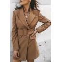 Khaki Simple Peak Collar Long Sleeve Double Breasted Belted Longline Blazer Coat with Pocket
