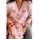 Womens Fashionable Pink Cute Heart Printed Long Sleeve Button Front Regular Knitted Cardigan Coat