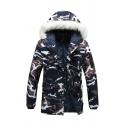 Mens Classic Camo Printed Long Sleeve Zip Closure Fur Trimmed Hooed Puffer Jacket Longline Parka Coat