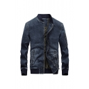 Mens Simple Letter Printed Back Long Sleeve Stand Collar Zipper Jean Jacket Coat with Pocket