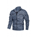 Mens Vintage Solid Color Ruched Detail Long Sleeve Stand Up Collar Zip Up Faded Faux Leather Casual Jacket